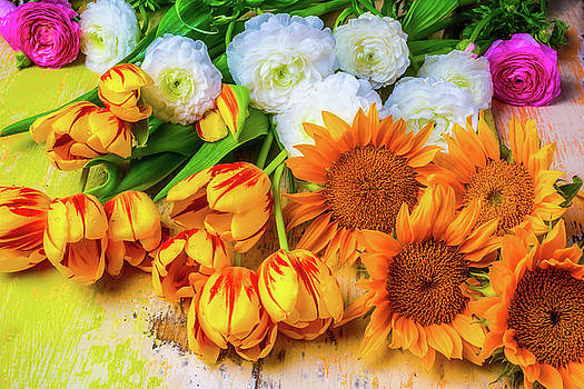 Sunflowers Tulips by Garry Gay
