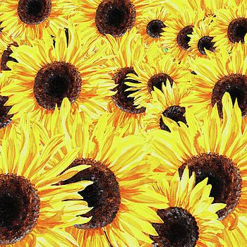 Irina Sztukowski - Sunflowers Watercolor Field