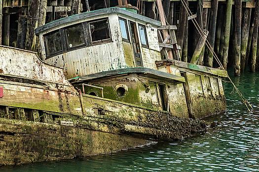 Sunken Boat In Noyo Harbor II by Bill Gallagher