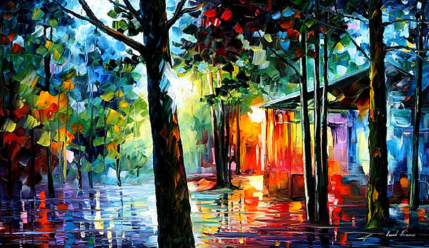 Sunlight In The Drops - PALETTE KNIFE Oil Painting On Canvas By Leonid Afremov by Leonid Afremov