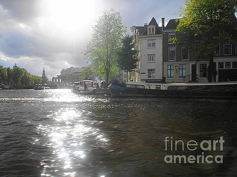 Sunlight on Canal in Amsterdam by Therese Alcorn