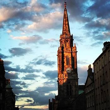 Sunlit Clock Tower In Scotland by Jen Lynn Arnold