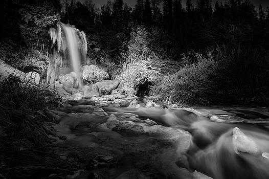 Sunlit Moraine Falls, Monochrome by Jakub Sisak