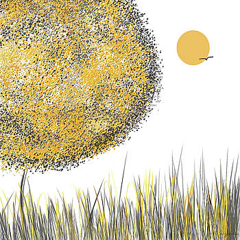 Sunny Day - Yellow And Gray Tree Contemporary Art by Lourry Legarde