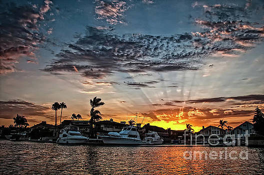 Sunrays over Huntington Harbour by Peter Dang