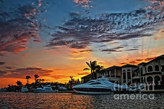 Sunrays Sunset over Huntington Harbour by Peter Dang