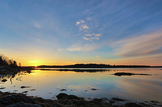 Sunrise across Hornbarn Cove and Back River near Friendship Maine by Juergen Roth