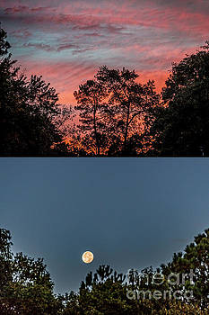 Sunrise and Moonset Duo.tif by Doug Berry