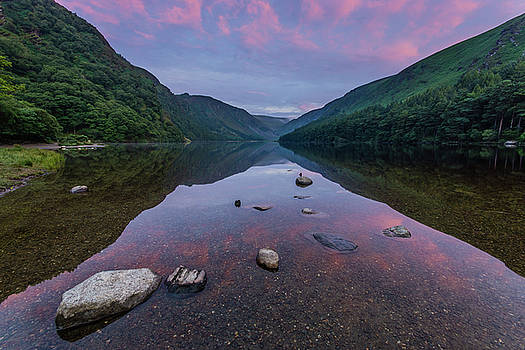 Sunrise at Glendalough Upper Lake #3, County Wicklow, Ireland. by Anthony Lawlor