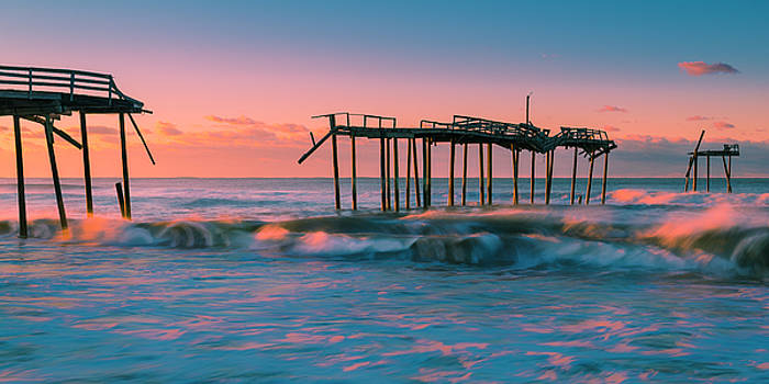 Ranjay Mitra - Sunrise at Outer Banks Fishing Pier in North Carolina Panorama