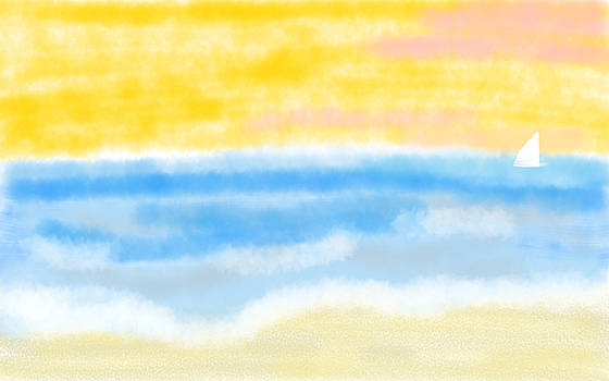 Sunrise at the Beach Abstract Seascape by Eliza Donovan