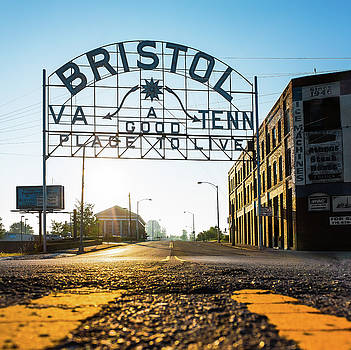 Sunrise at the Bristol Sign by Greg Booher