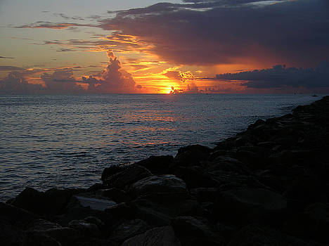 Sunrise at the jetty  8-16-15 by Julianne Felton