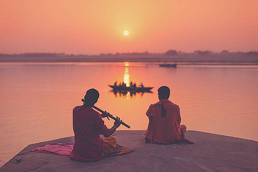 Sunrise by the Ganges by Marji Lang