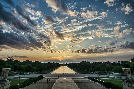 Sunrise from the steps of the Lincoln memorial in Washington, DC  by Sven Brogren