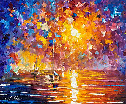 Sunrise In Playa Del Carmen - PALETTE KNIFE Oil Painting On Canvas By Leonid Afremov by Leonid Afremov