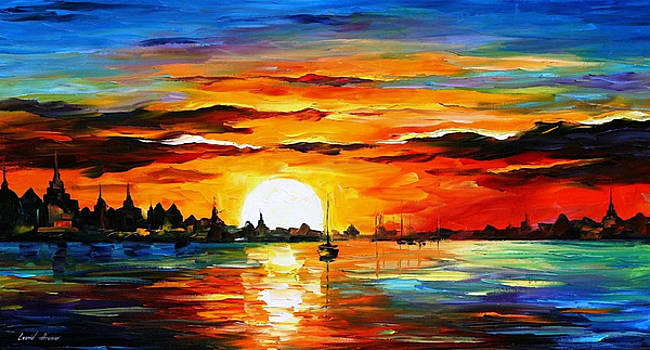 Sunrise In The Harbor - PALETTE KNIFE Oil Painting On Canvas By Leonid Afremov by Leonid Afremov