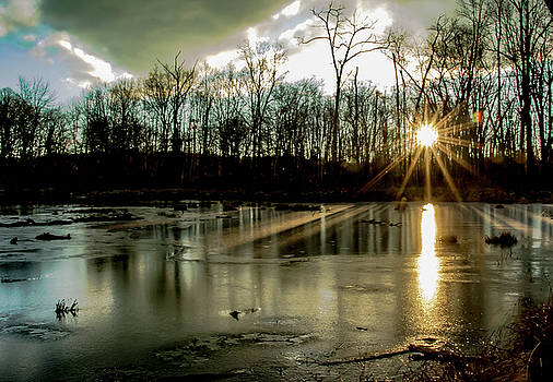 Sunrise on Icy Pond by Chris Burke