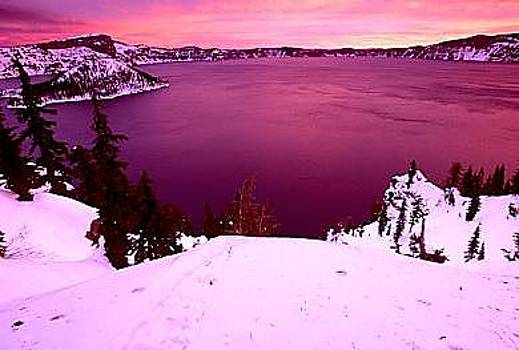 Sunrise Over Crater Lake by Floyd Bond