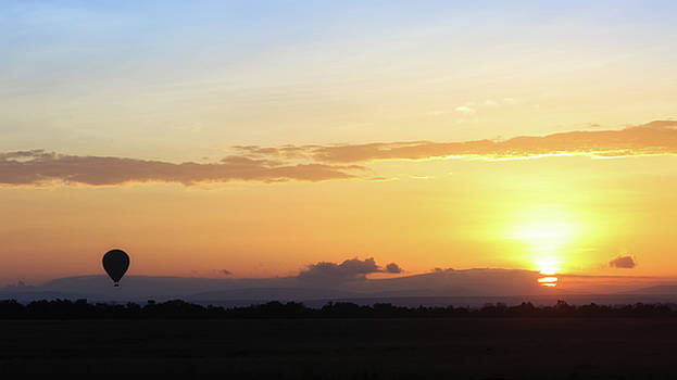 Sunrise Over Kenya Africa With Balloon by Susan Schmitz