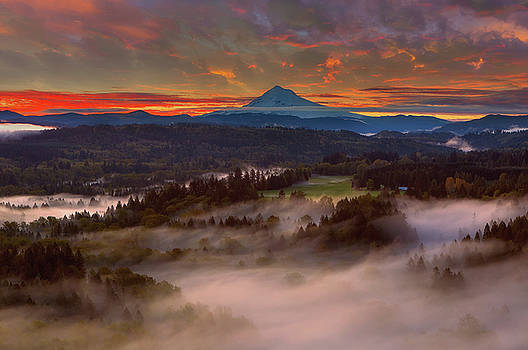 Sunrise over Mount Hood and Sandy River Valley by David Gn