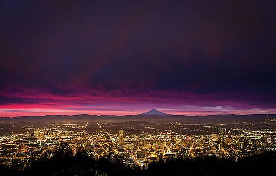 Sunrise over Portland Oregon and Mt Hood by Jarred Decker