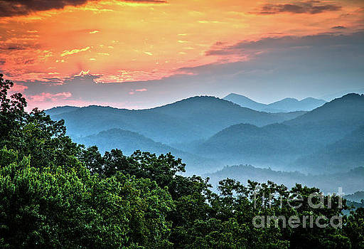 Sunrise Over the Smoky's by Douglas Stucky