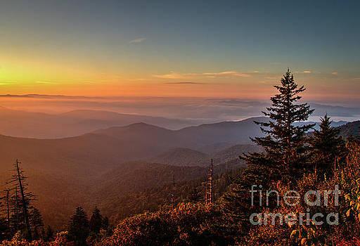 Sunrise Over the Smoky's V by Douglas Stucky