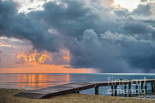 Sunrise Rain Cloud paints the sky  by David Zanzinger