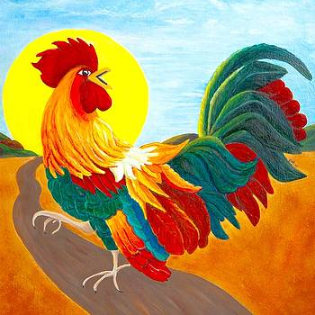 Sunrise Rooster by Anne Kibbe