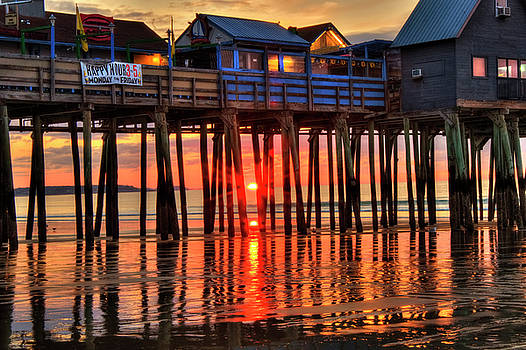 Sunrise Seascape - Old Orchard Beach Pier - Maine by Joann Vitali