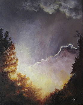 Sunrise Through The Pines by Diane Kraudelt