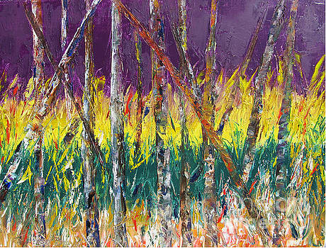 Sunset Abstract Pallet Knife by Lisa Boyd