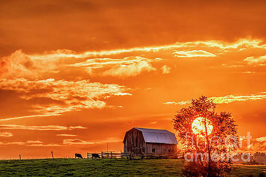 Sunset and Barn by Thomas R Fletcher