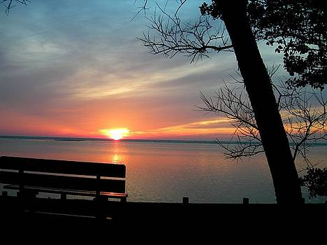 Sunset and Bench by Kathern Welsh