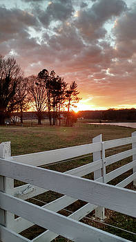 Sunset and Fence North Carolina by Jim Moore