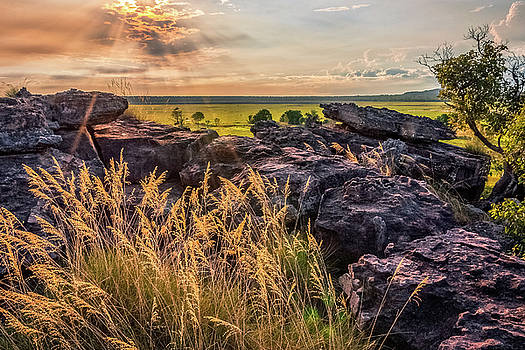 Sunset and Smoke from Controlled Burning -Ubirr Rock, Australia by Daniela Constantinescu