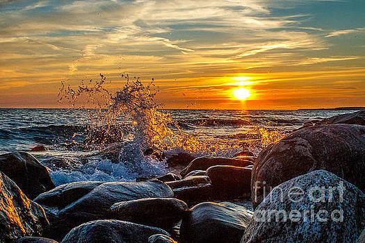 Sunset and Splash by Marj Dubeau