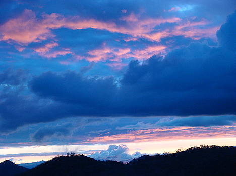 Baslee Troutman - Sunset Art Print Blue Twilight Clouds Pink Glowing Light over Mountains