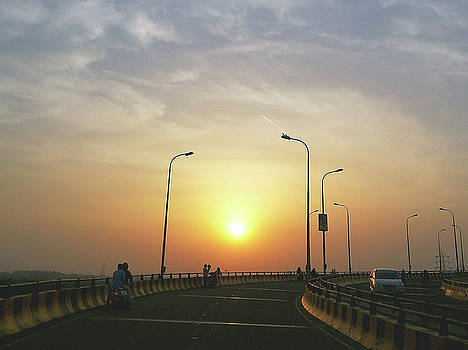 Sunset at an over bridge by Atullya N Srivastava