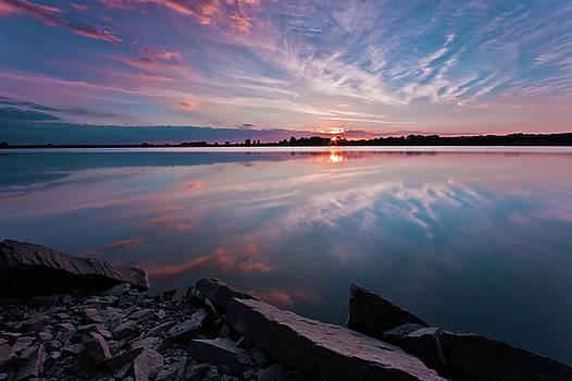 Sunset at Anglezarke Reservoir #1, Rivington, Lancashire, North West England by Anthony Lawlor