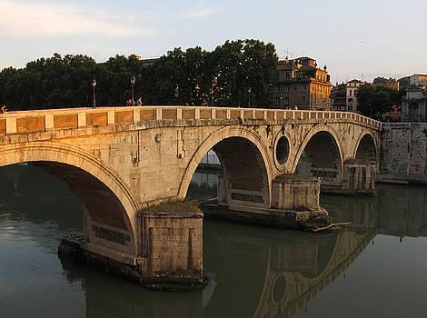 Sunset at bridge Ponte Sisto in Rome by Kiril Stanchev
