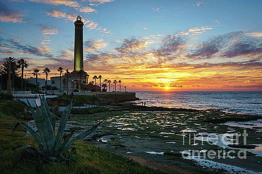 Sunset at Chipiona Lighthouse Cadiz Spain by Pablo Avanzini