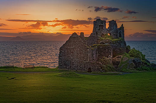 Sunset at Dunure Castle by Alex Saunders