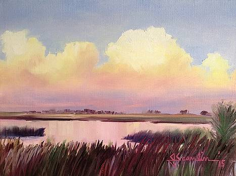 Sunset at Ft. Island Beach by Jean Scanlin Wright