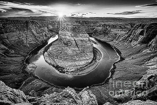 Sunset at Horseshoe Bend Glen Canyon Arizona by Colin and Linda McKie