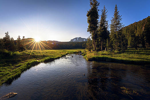 Sunset at Kings Creek in Lassen Volcanic National by John Hight