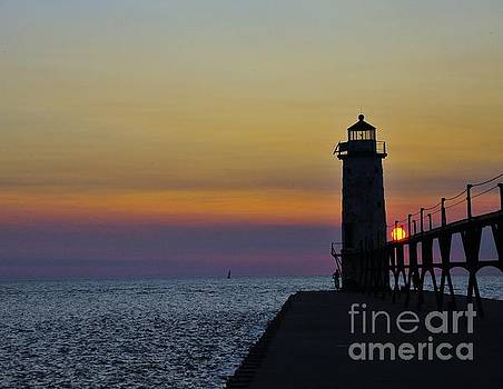 Terri Gostola - Sunset at Manistee North Pierhead Lighthouse