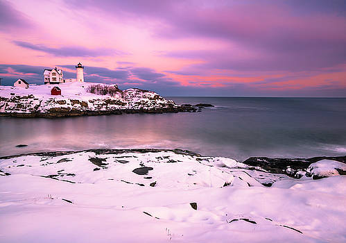 Ranjay Mitra - Sunset at Nubble Lighthouse in Maine in Winter Snow
