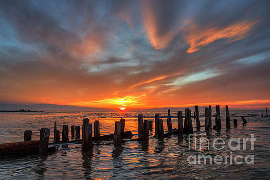 Sunset at old Saltair piers by Spencer Baugh